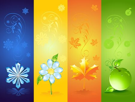 Four seasonal backgrounds photo