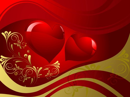 Abstract red shapes of hearts, background dark red Vector