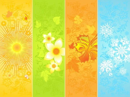 Seasonal backgrounds, four banner