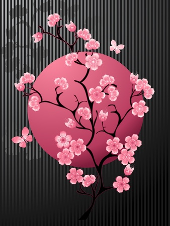 Blossoming Cherry Tree Illustration