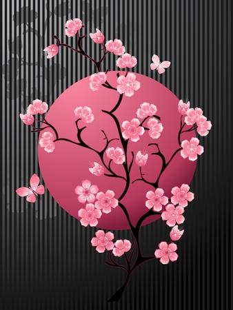cherry tree: Blossoming Cherry Tree Illustration