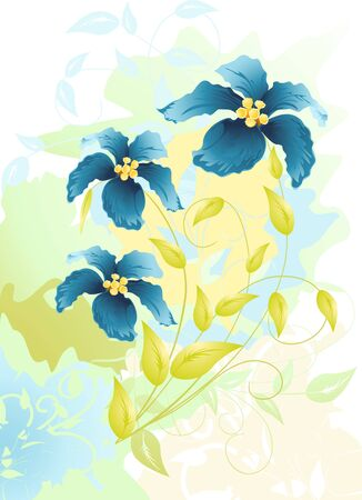 flowers watercolor drawing illustration Vector