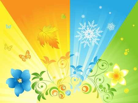 four seasons in the sun against the background Vector