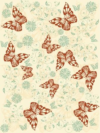 brown butterflies seamless pattern Vector