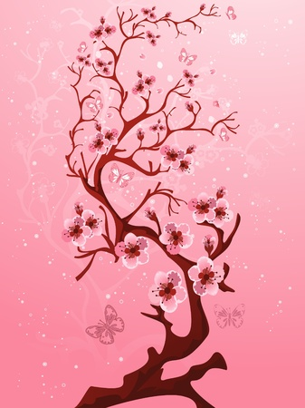cherry blossom tree: Blossoming tree  Raster version   Illustration
