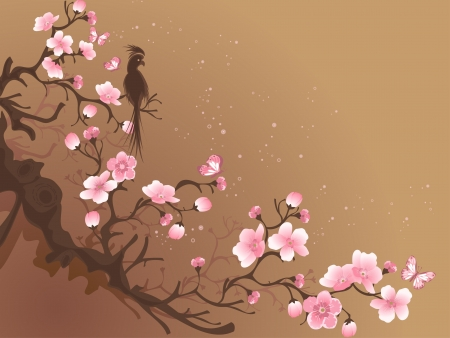 branch of sakura and bird on a brown background Vector