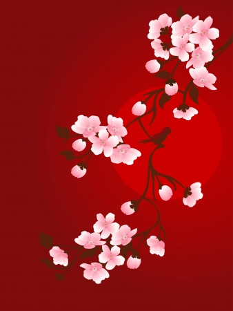 branch of cherry and sun on a red background Vector