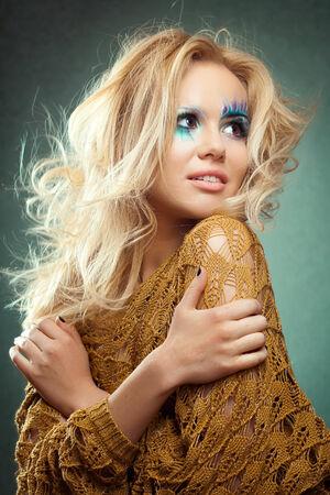 Teen girl make-up as mermaid beautiful photo