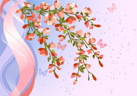 Blooming Cherry Blossom Branches with butterfly Illustration