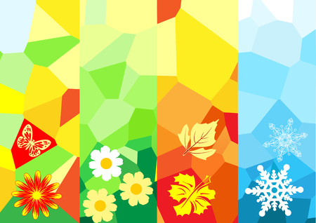 four season: Four season banners for your design Illustration