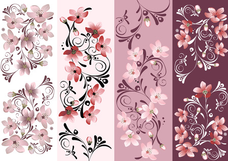 blossoms: Set of floral cards for your design. Cherry blossom. Illustration
