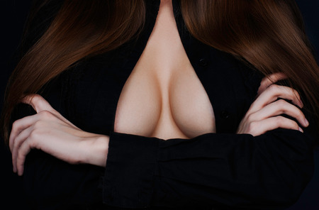 breast beauty: Topless beauty woman body covering her breast Stock Photo