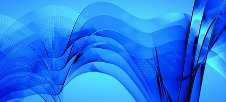abstract waves background: Blue dynamic and luminous waves. Abstract background