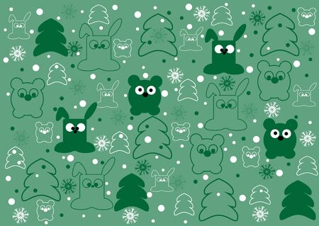 holyday: Cute holyday animals kids  background in vector Illustration