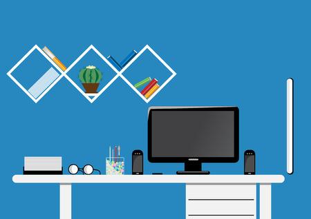 workspace: Concept office desktop workspace. Flat design vector mock up. Illustration