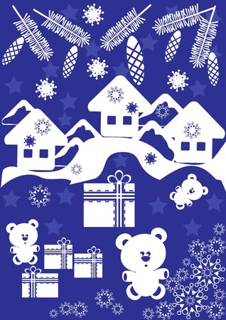 toy sack: Christmas blue background with gift boxes and snowflakes. Vector Illustration