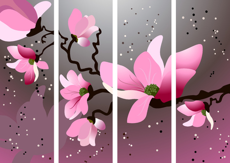 cherry branch: Card with blossoming oriental cherry branch in traditional japanese