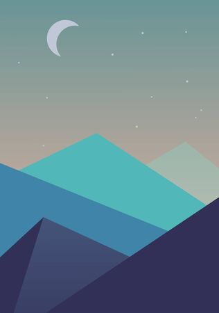 simple background: Flat simple vectorlandscape background. Mountains moon stars