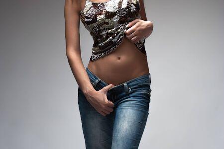 abdomen plano: Cuerpo Perfecto Mujer Delgada. Concepto de dieta. Abdomen plano
