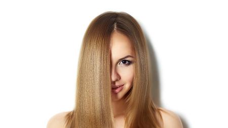 Blond Long Hair. Fashion Woman Portrait. Long straight hair photo