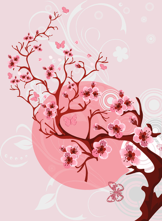 Cherry blossom pattern. Beautiful spring nature scene.