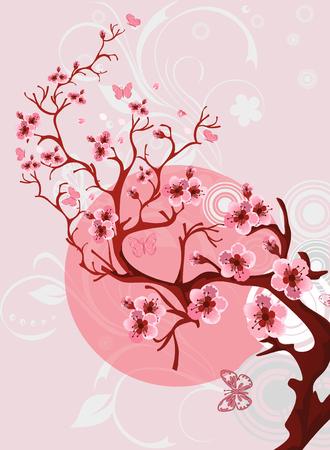 iluminado a contraluz: Modelo de flor de cerezo. Escena hermosa de la naturaleza de la primavera. Vectores
