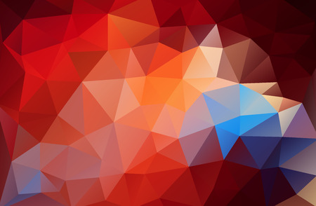 Flat red triangle bright red and blue gradient background