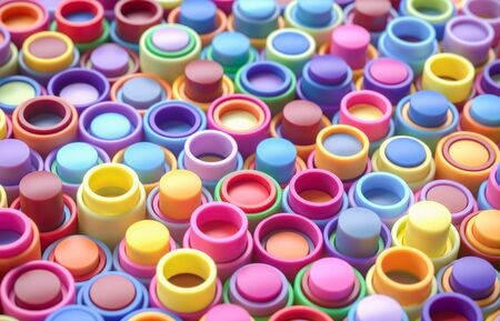 Rainbow of colorful cylinder and tubes. 3D background