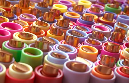 Rainbow of gold cylinder and multicolor tubes. 3D background