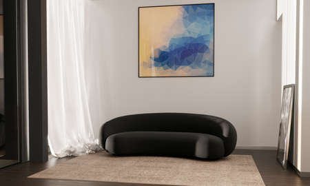 A poster over with a black sofa in a simple living room interior. 3d image