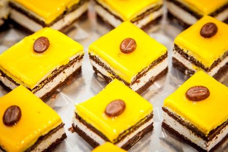 fancy cake: food series: mango fancy cake with yellow fruit jelly Stock Photo