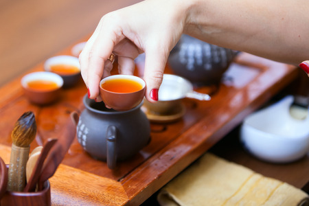 chinese tea ceremony: Photo in the room Chinese tea ceremony Stock Photo