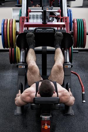 bodybuilder with a beard in the gym Foto de archivo