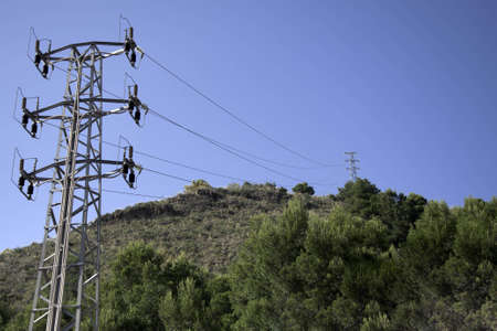tension tower located in the countryside. photo