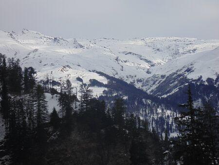 snowfalls: Snow capped Himalayan Mountain Stock Photo