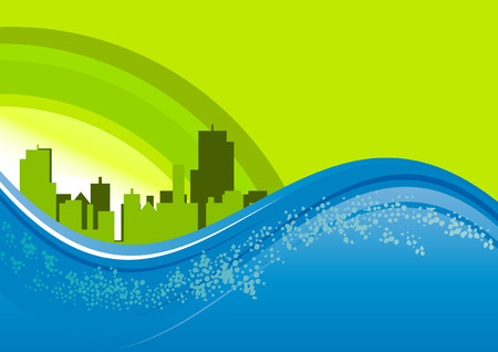 green city and blue wave Vector