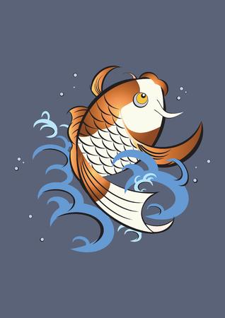 pez carpa: Koi acci�n  Vectores