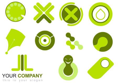 green logo set Stock Vector - 3264595
