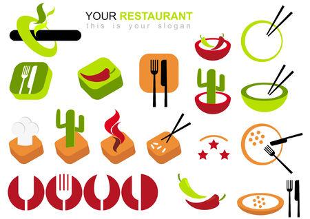 logos restaurantes: restaurante logo conjunto  Vectores