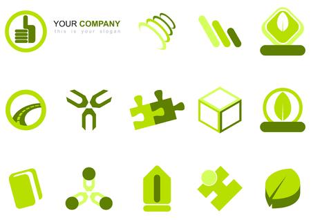 cube puzzle: green logo set Illustration