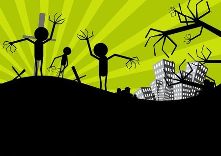 zombie cartoon: halloween scarecrow background Illustration