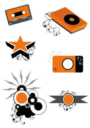 grunge logo set Vector