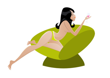 black girl nude: cute lounge girl Illustration