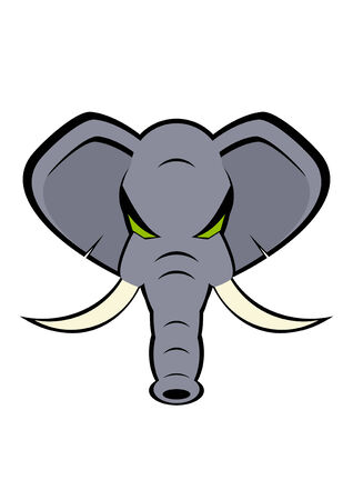elephant angry: elephant head Illustration