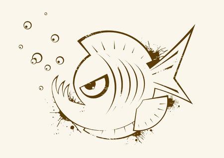 piranha: angry fish vintage symbol Illustration