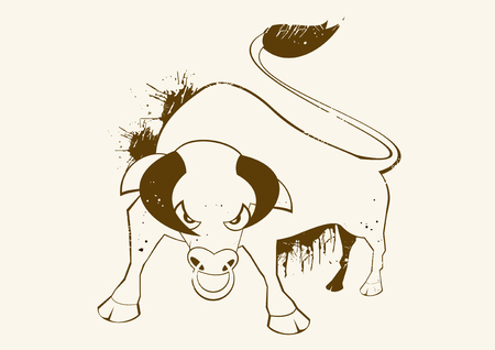 angry bull vintage symbol Vector