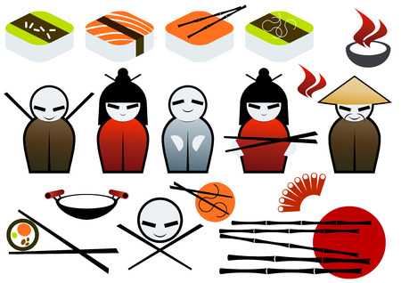 asian restaurant symbol collection Vector