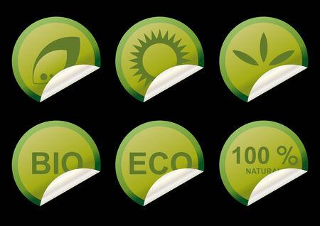 saludable logo: colecci�n de pegatinas la ecolog�a