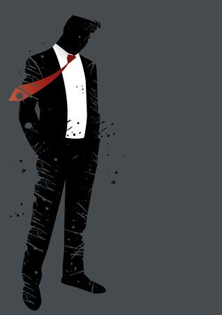 corbata negra: grunge hombre crisis Vectores