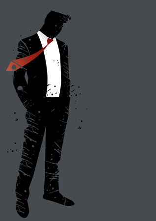 suit tie: grunge man crisis Illustration